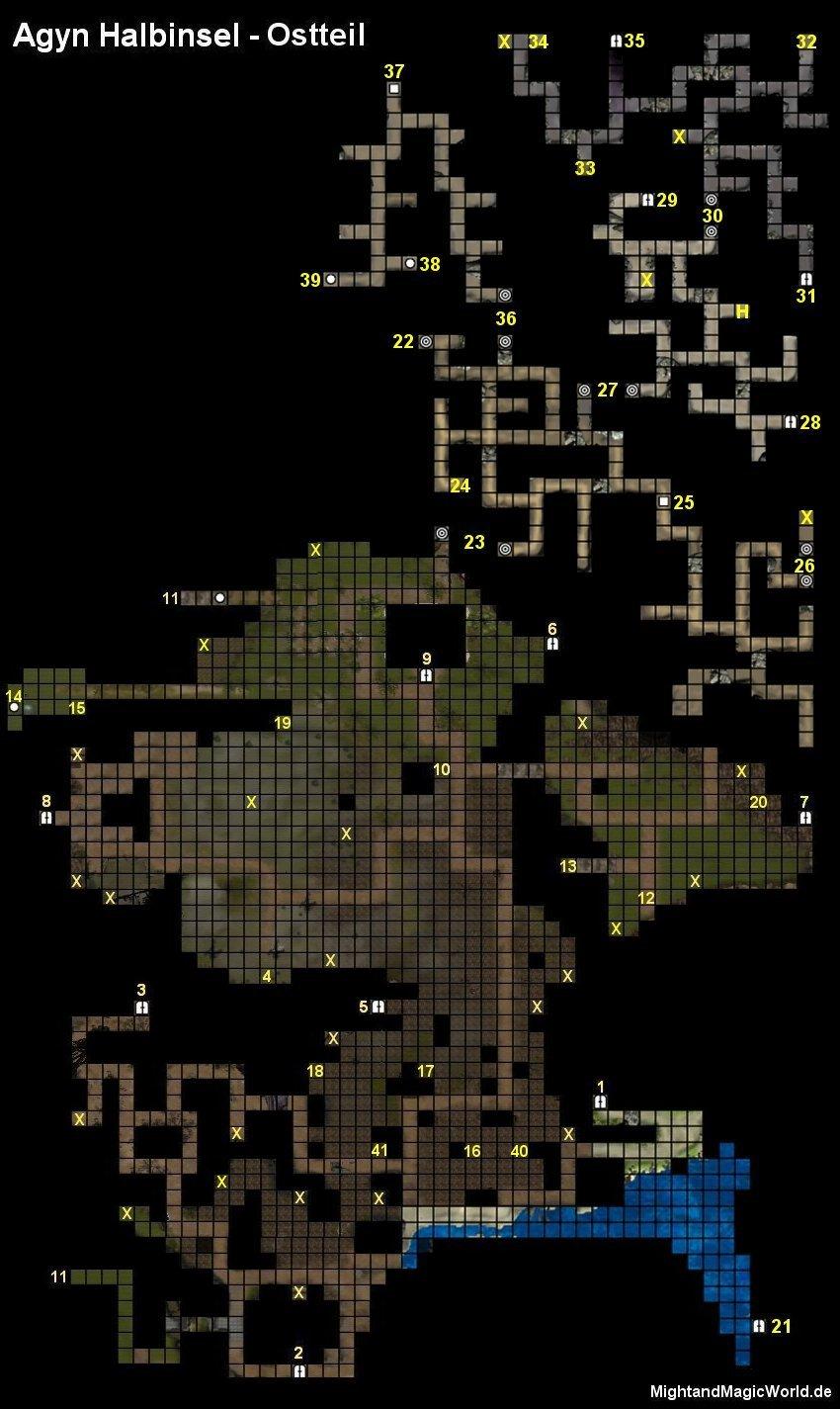 Map der Agyn Halbinsel - Ostteil