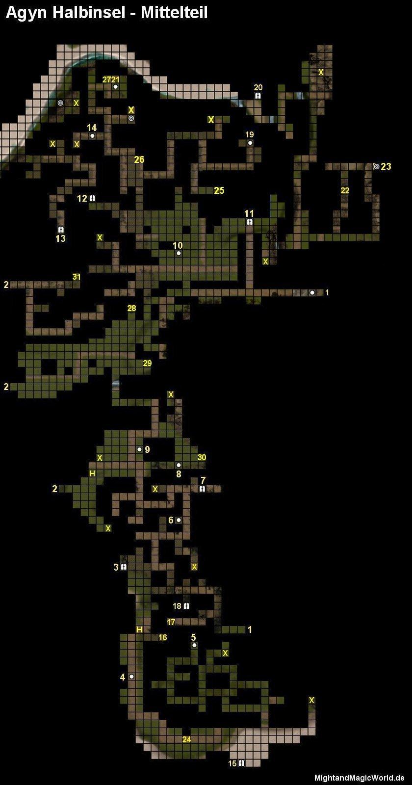 Map der Agyn Halbinsel - Mittelteil