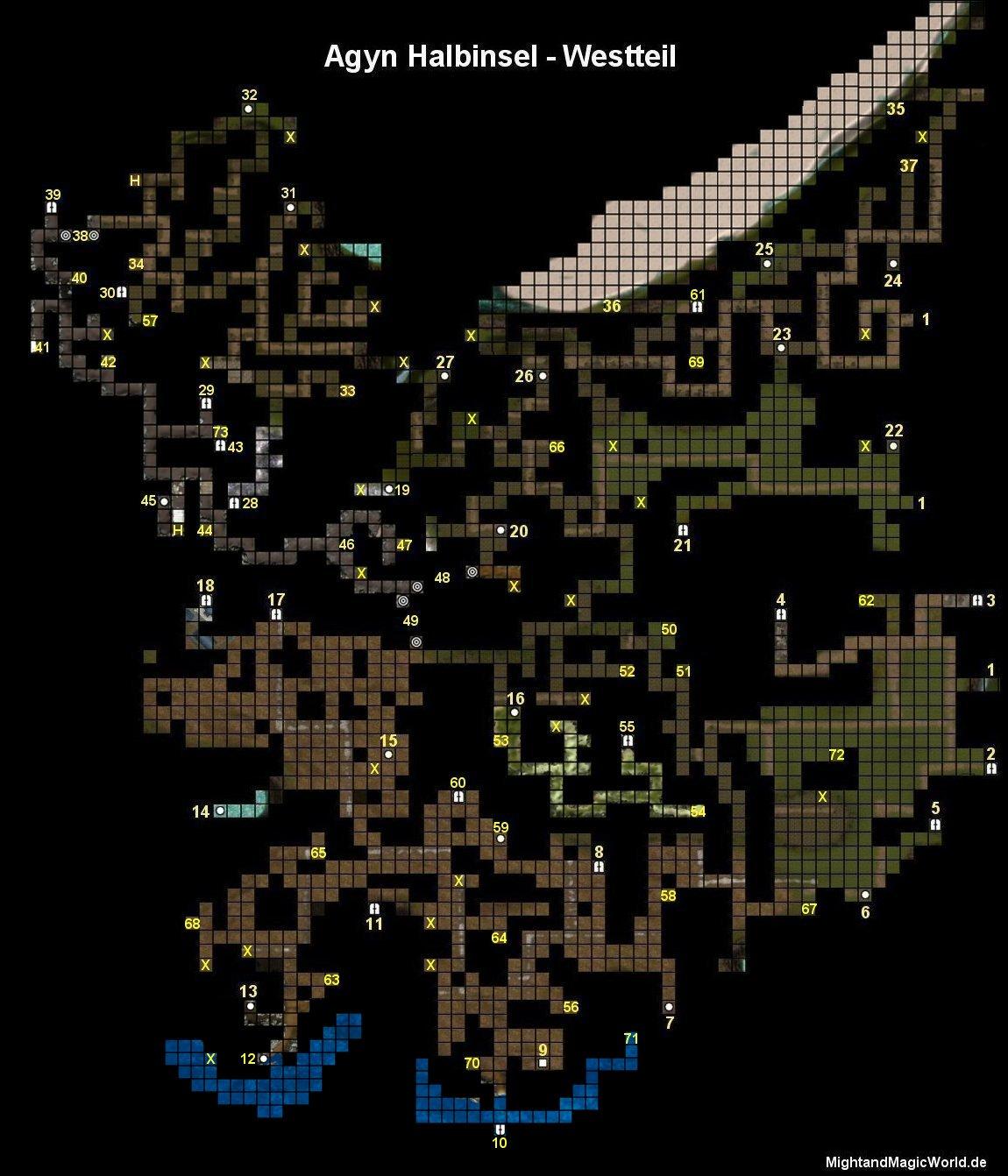 Map der Agyn Halbinsel - Westteil