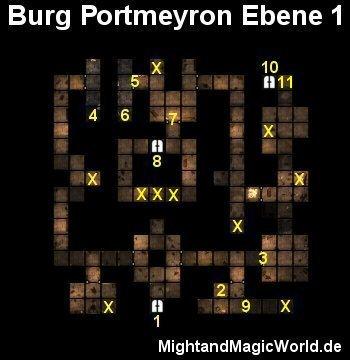 Map der 1. Ebene der Burg Portmeyron