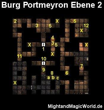Map der 2. Ebene der Burg Portmeyron