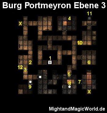 Map der 3. Ebene der Burg Portmeyron