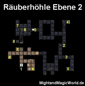Map der 2. Ebene der Räuberhöhle