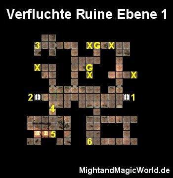 Map der 1. Ebene der Verfluchten Ruine