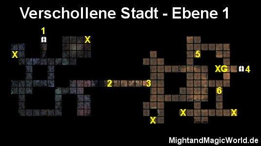 Map der 1. Ebene der Verschollenen Stadt