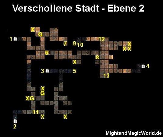 Map der 2. Ebene der Verschollenen Stadt
