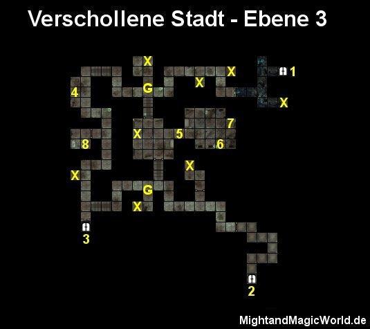Map der 3. Ebene der Verschollenen Stadt