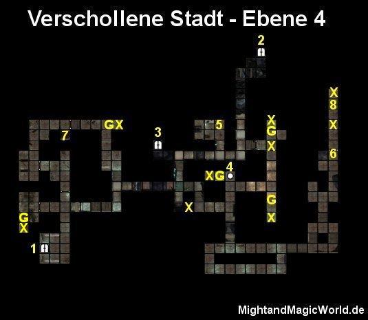Map der 4. Ebene der Verschollenen Stadt