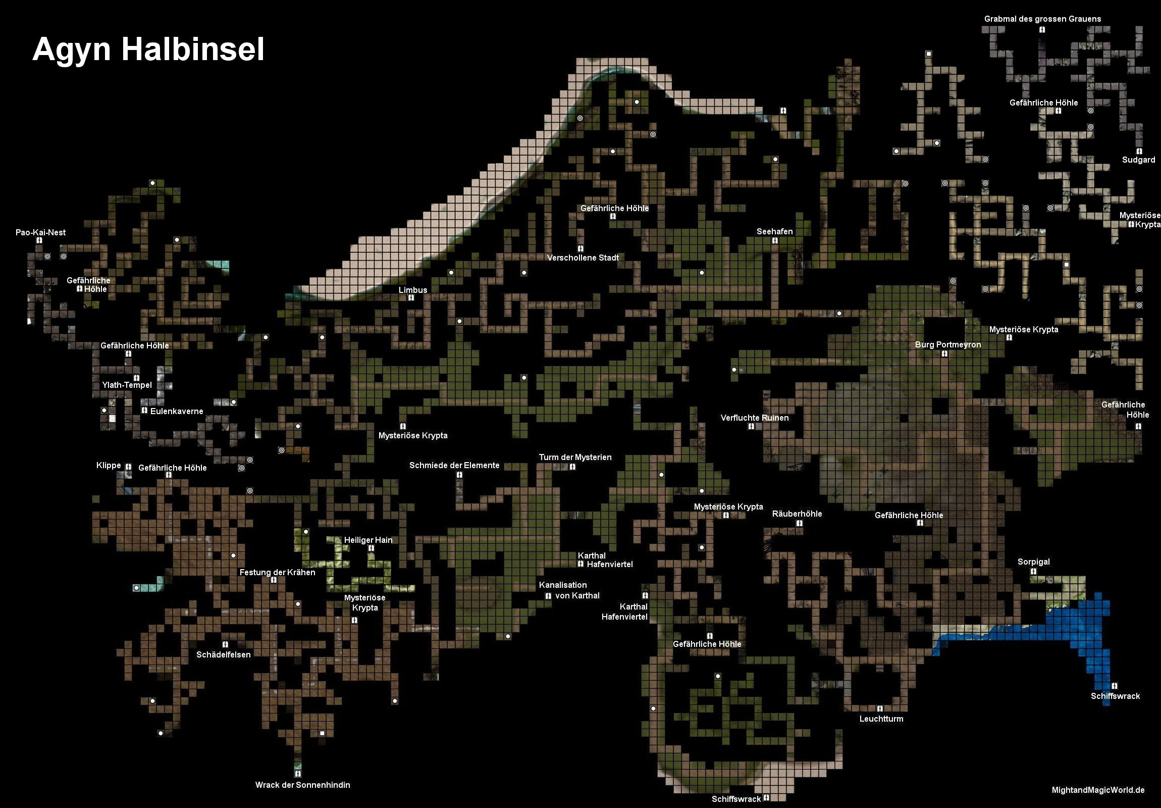 Übersichtskarte der Agyn Halbinsel