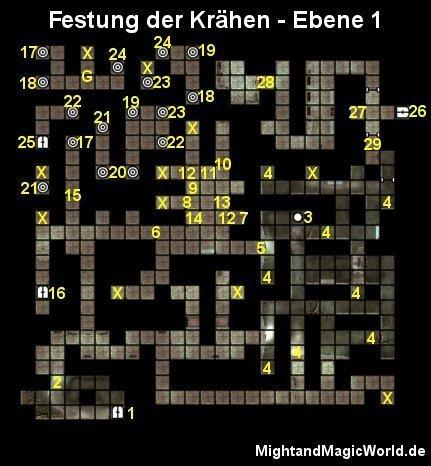 Map der 1. Ebene des Festung der Krähen