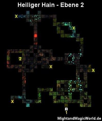 Map der 2. Ebene des Heiliger Hain