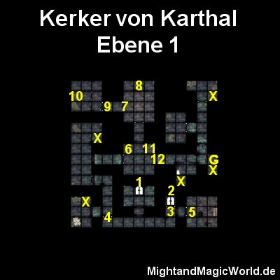 Map der 1. Ebene vom Kerker von Karthal