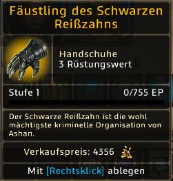 Fäustling des Schwarzen Reißzahns Level 1