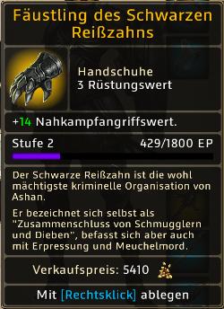 Fäustling des Schwarzen Reißzahns Level 2
