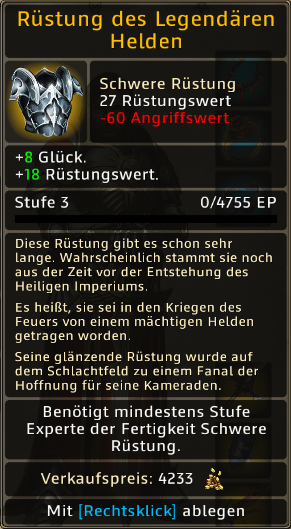 Rüstung des Legendaeren Helden Level 3