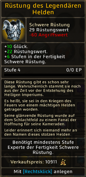 Rüstung des Legendaeren Helden Level 4