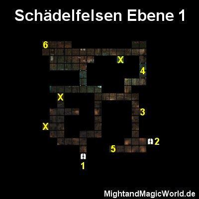 Map der Schädelfelsen Ebene 1